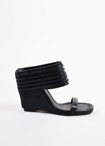 Rick Owens Black Leather Stripe Cut Out Cuff Wedge Slide Mule Sandals Sideview