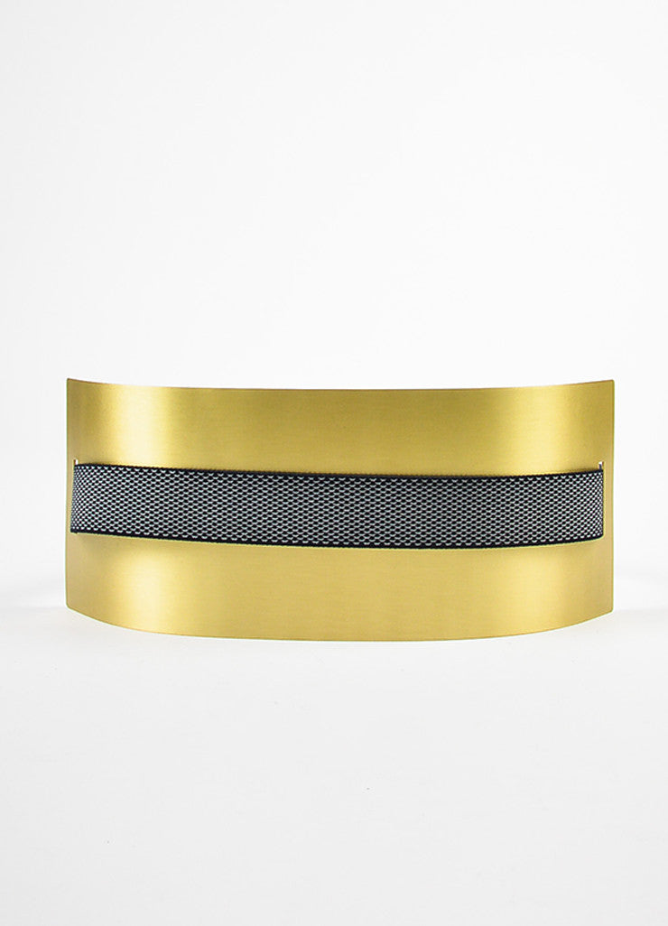 Roksanda Navy and Brushed Gold Toned Brass Wide Interwoven Plate Waist Belt Frontview