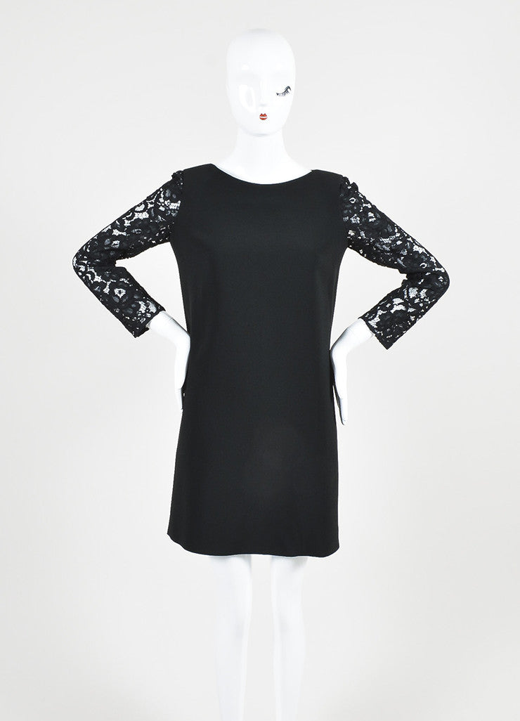 Saint Laurent Black Lace Three Quarter Sleeve Round Neck Shift Dress Frontview