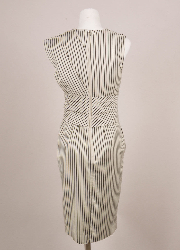 New With Tags Beige Black Striped Pleated Bow Sleeveless Dress