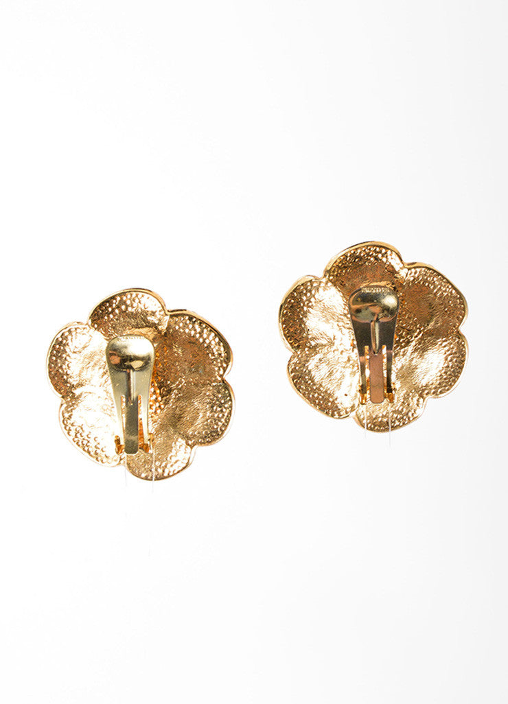 Celine Gold Toned Rhinestone Crystal Flower Earrings Backview