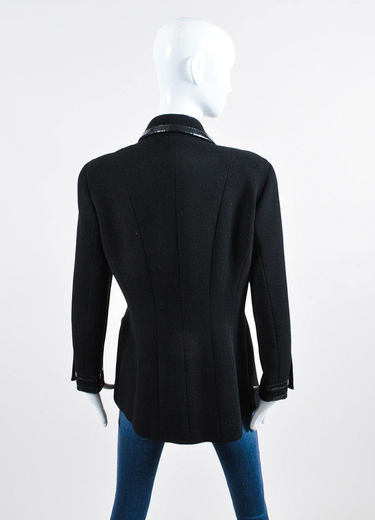 Black Wool Chanel Patent Leather Long Tailored Jacket Back