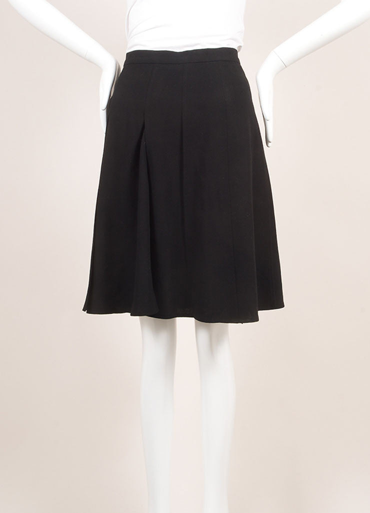 Chanel Black Pleated Wool Knee Length Skirt Frontview