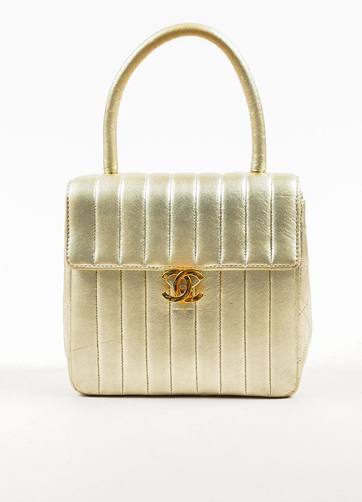 "Chanel Metallic Gold Leather Vertical Quilted ""Kelly Flap"" Handbag Frontview"