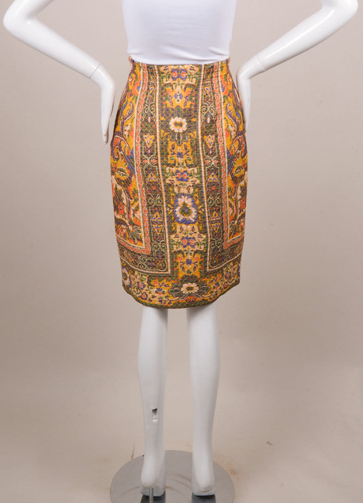 Christian Dior White and Yellow Silk Baroque Print Quilted Skirt Backview
