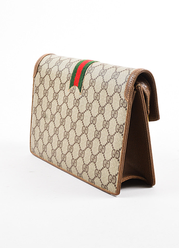 Gucci Taupe and Brown Coated Canvas Leather Trim Clutch Bag Sideview