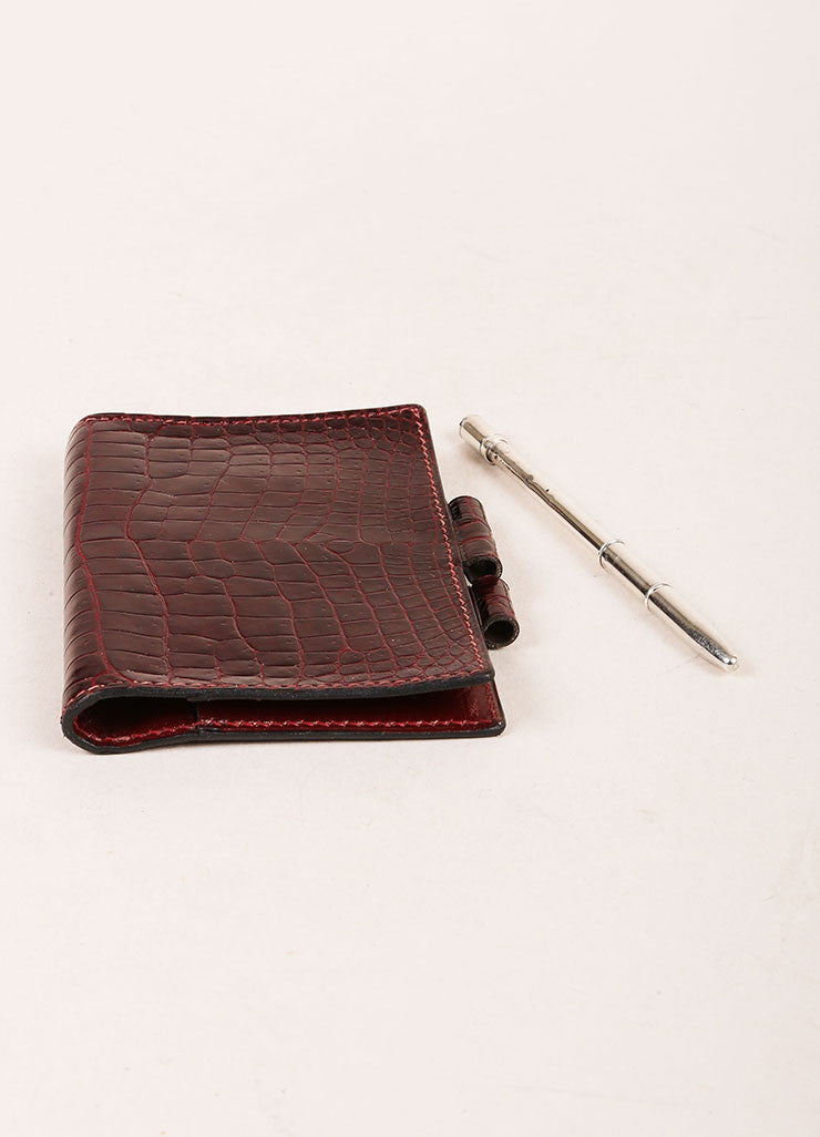 Hermes Burgundy Crocodile Leather Mini Agenda Cover Sideview