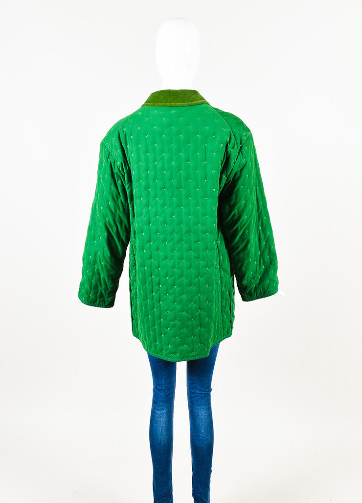 Hermes Green Embroidered Quilted Velvet Collar Oversized Jacket Backview