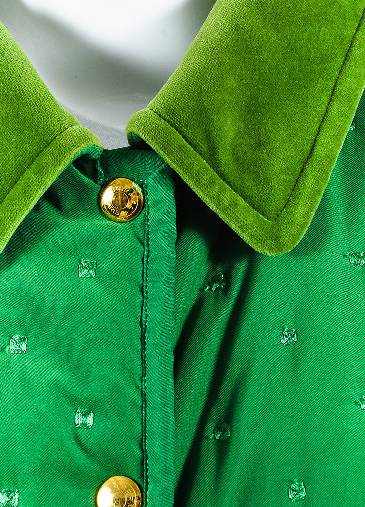 Hermes Green Embroidered Quilted Velvet Collar Oversized Jacket Detail