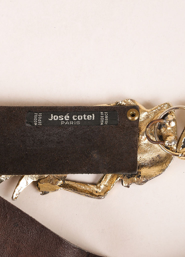 Jose Cotel Dark Brown and Gold Toned Greek Figure Buckle Leather Belt Brand