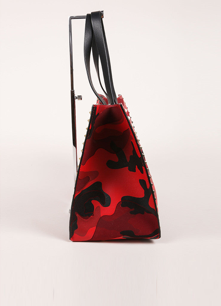 "Valentino Red and Black Leather and Canvas Camo Medium Soft ""Rockstud"" Tote Bag  Sideview"