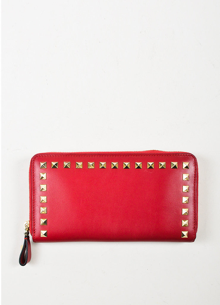 Valentino Red Leather Rockstud Zip Around Continental Wallet Backview
