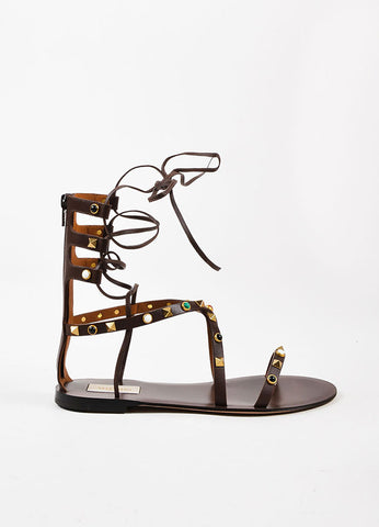 "Valentino Brown Leather ""Rockstud Rolling"" Gladiator Sandals Sideview"