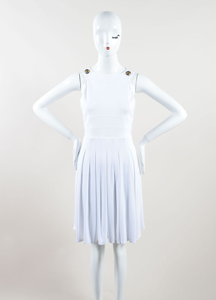 Versace White Knit Sleeveless Pleated Skater Dress Front