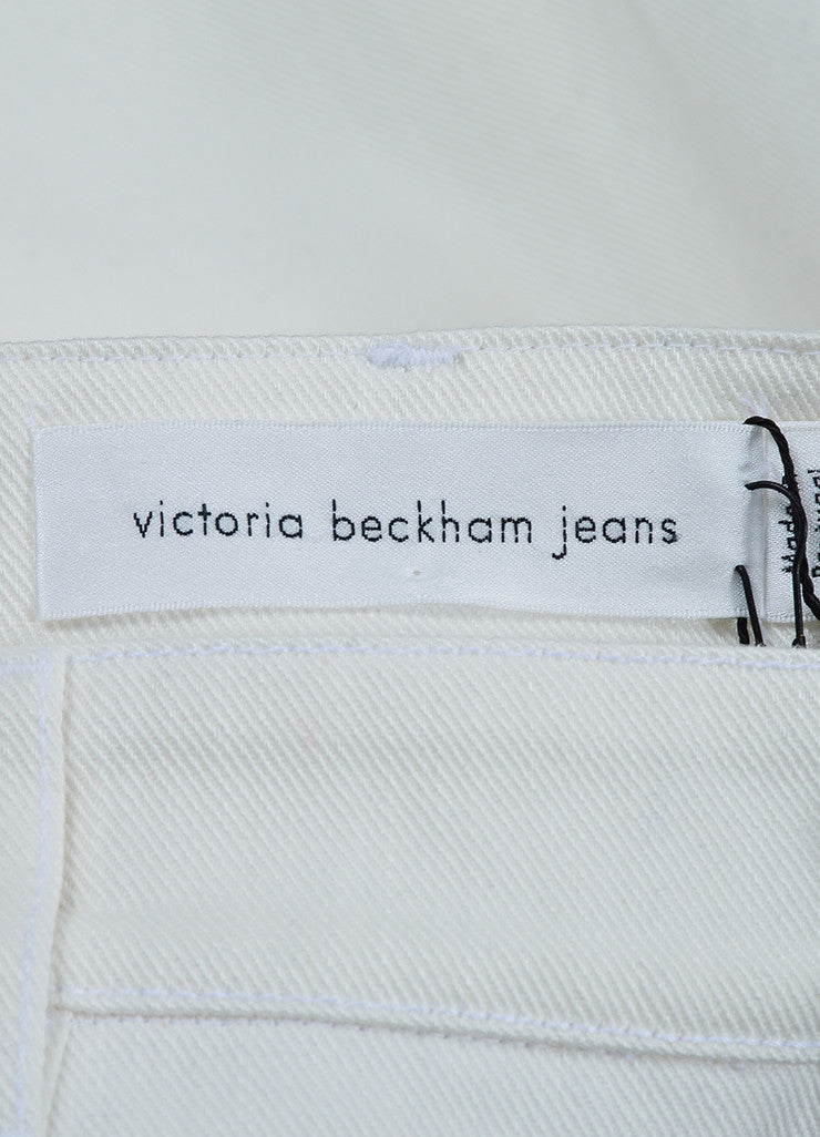 White Denim ¥éËVictoria Beckham Jeans Slit Midi Pencil Skirt Brand