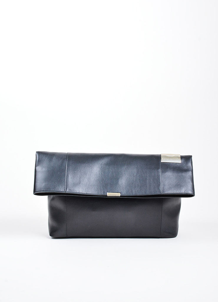"Black ¥éËVictoria Beckham Leather Foldover ""Talullah"" Large Clutch Bag Frontview"