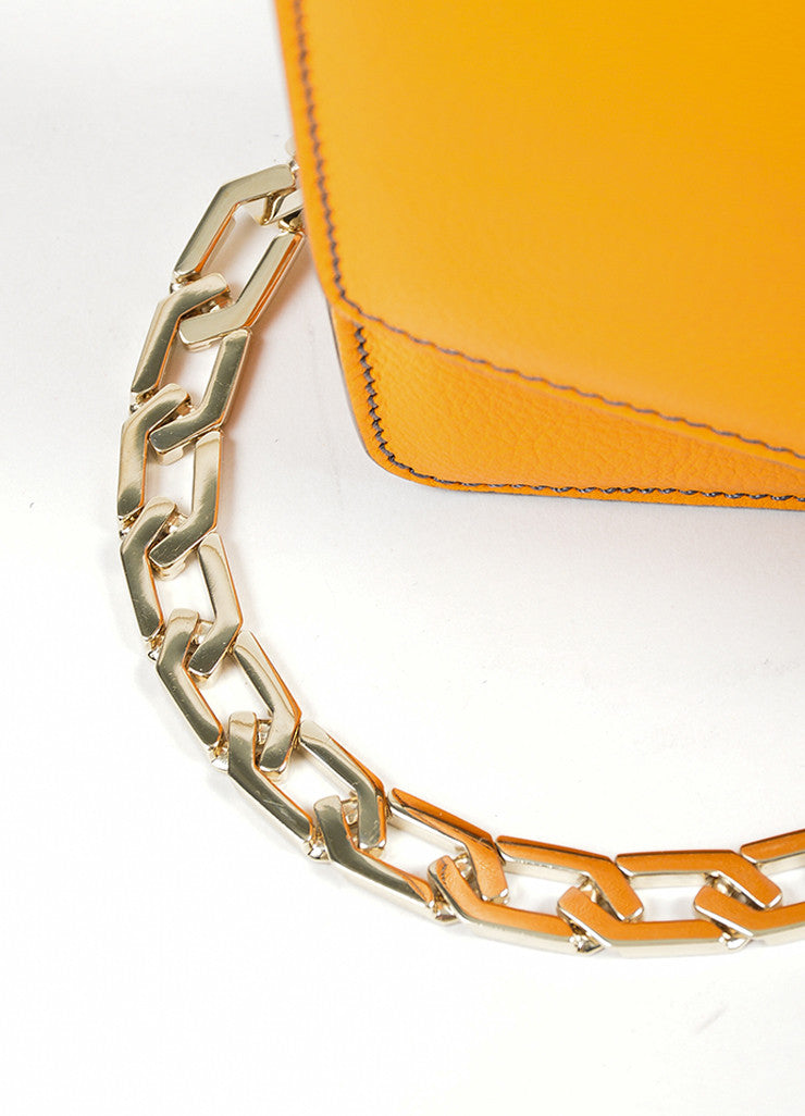 Orange Victoria Beckham Leather Mini Chain Satchel Bag Detail 2