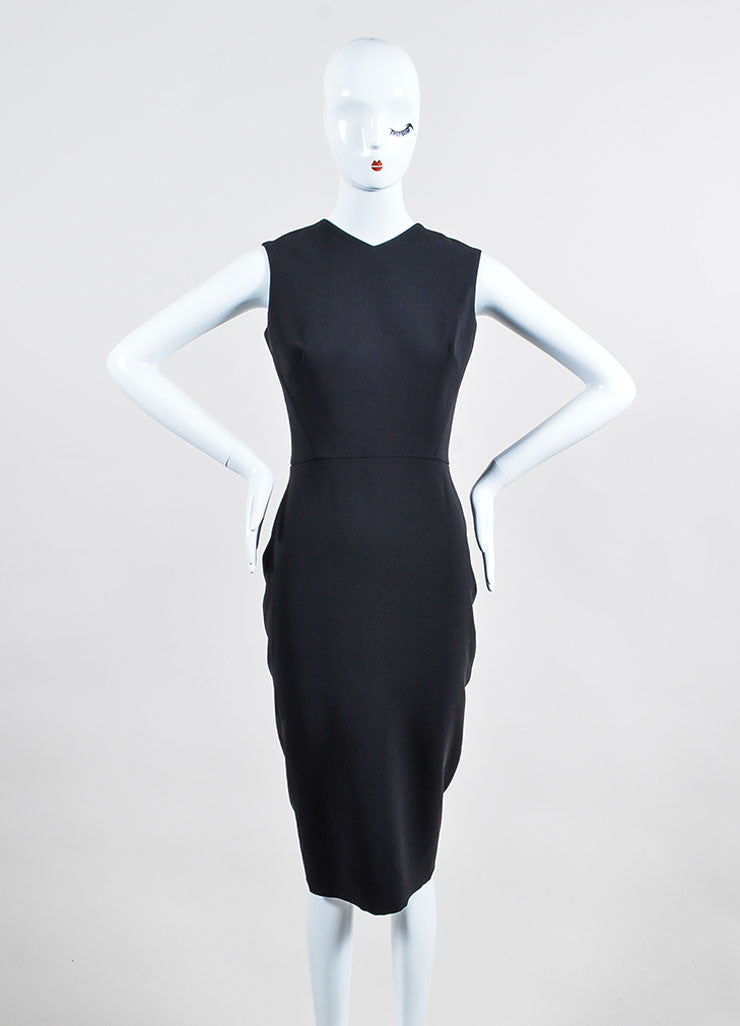 Black Victoria Beckham Silk and Wool Back Bow Sleeveless Sheath Dress Frontview