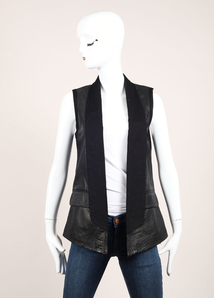 Yigal Azrouel Black Snakeskin Embossed Shawl Collar Lamb Leather Vest Frontview