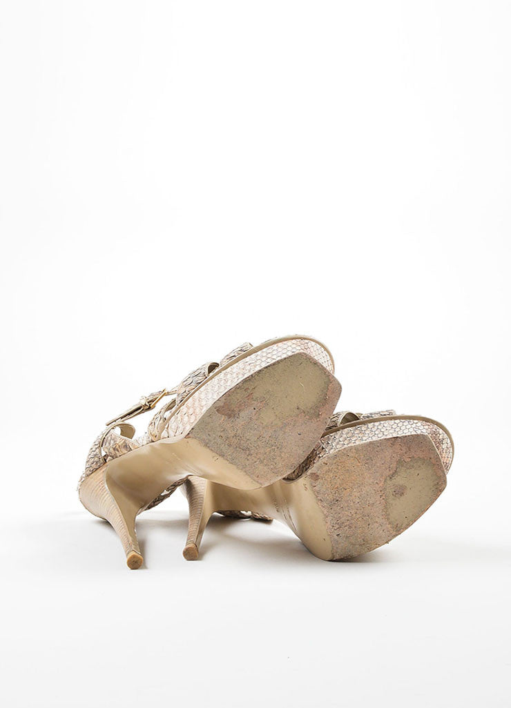 "Tan and Taupe Yves Saint Laurent Python Leather ""Tribute"" Sandal Heels Outsoles"