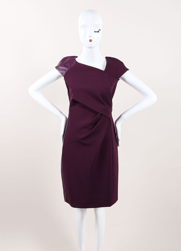 J. Mendel New With Tags Purple Leather Trim Cap Sleeve Gathered Sheath Dress Frontview