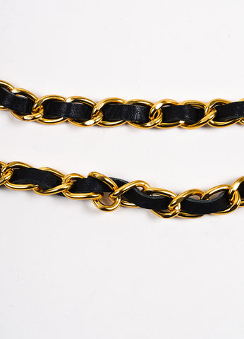 Chanel Gold Toned and Black Leather Link Crystal Embellished Lion 'CC' Chain Belt Detail