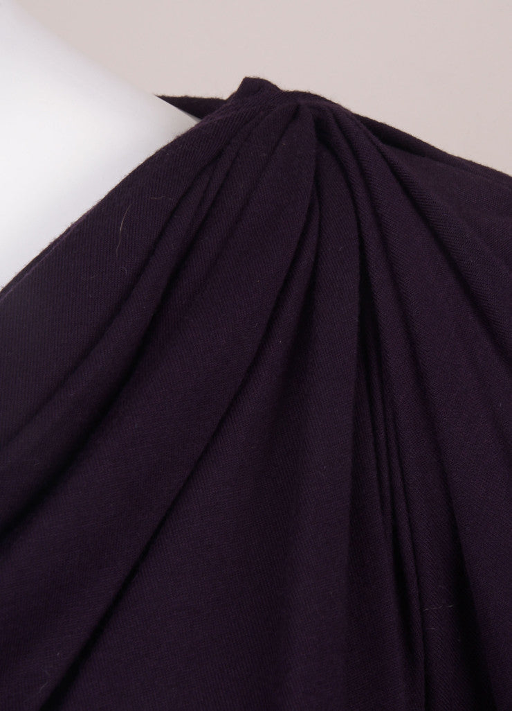 Dark Purple Ruched Long Sleeve Belted Jersey Dress