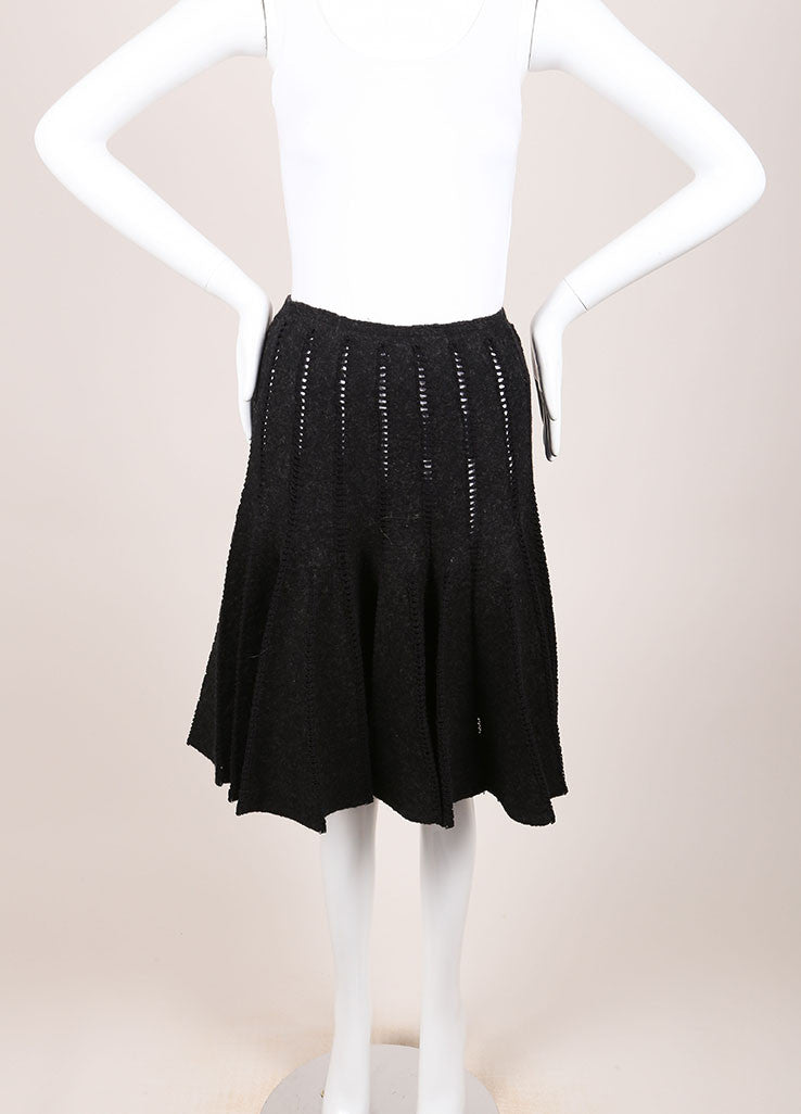Alaia Grey Wool Eyelet Trim Pleated Skirt Frontview