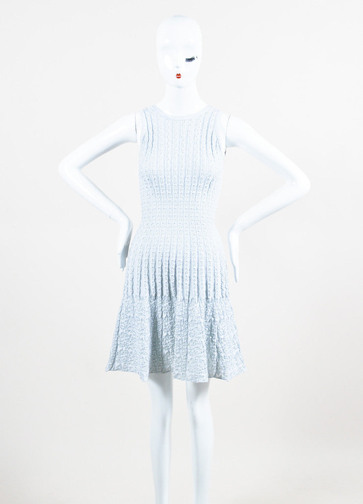 Light Blue Alaia Stretch Ribbed Knit Woven Eyelet Detail Sleeveless Dress Frontview