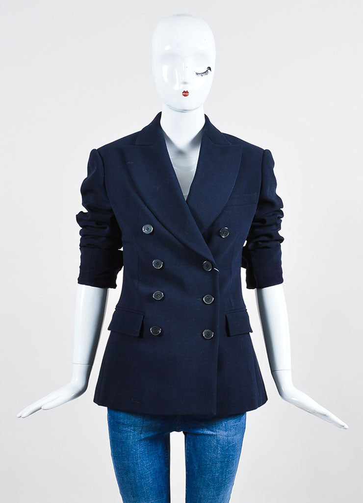Navy Alexander McQueen Stretch Wool Double Breasted Blazer Frontview 2