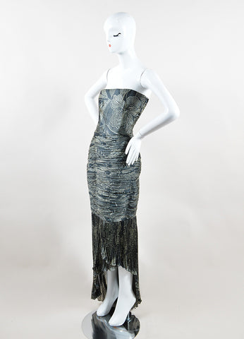 Badgley Mischka Dark Grey and Beige Ruched Floral Strapless Gown Sideview