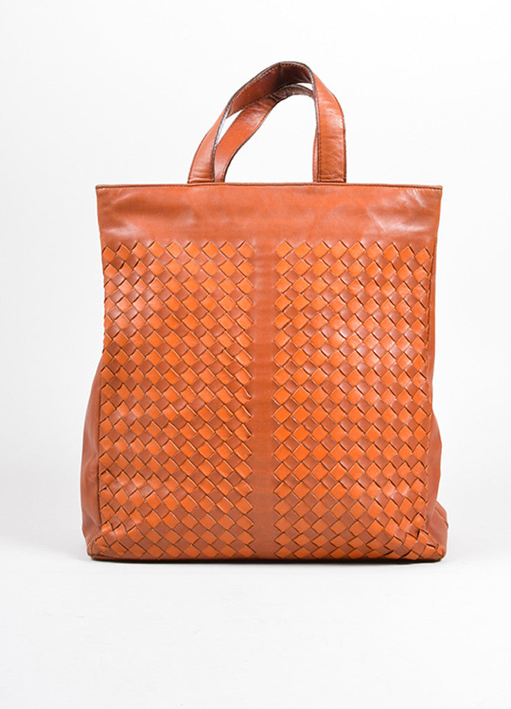 Bottega Veneta Cognac Brown Woven Intrecciato Leather Tote Bag Frontview