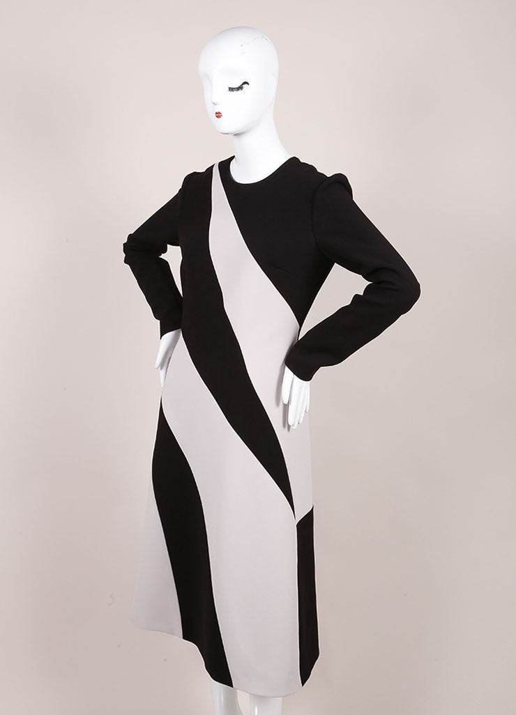 Bottega Veneta New With Tags Black and Cream Stripe Panel Long Sleeve Crepe Dress Sideview
