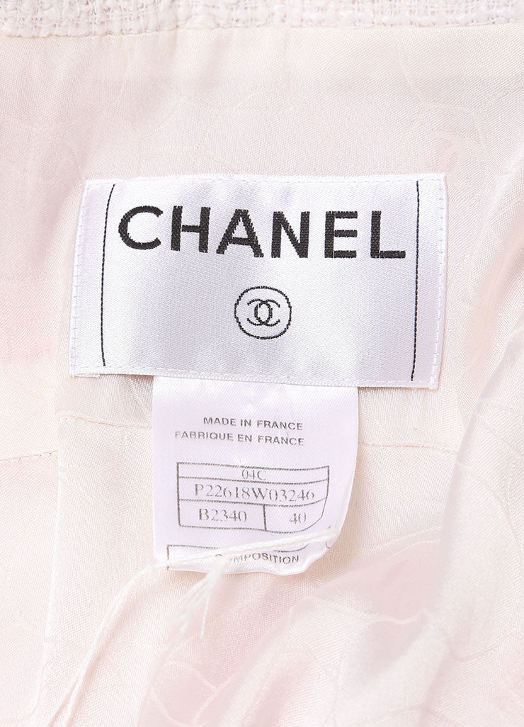 Chanel Pink and White Tweed Long Fringe Coat Brand