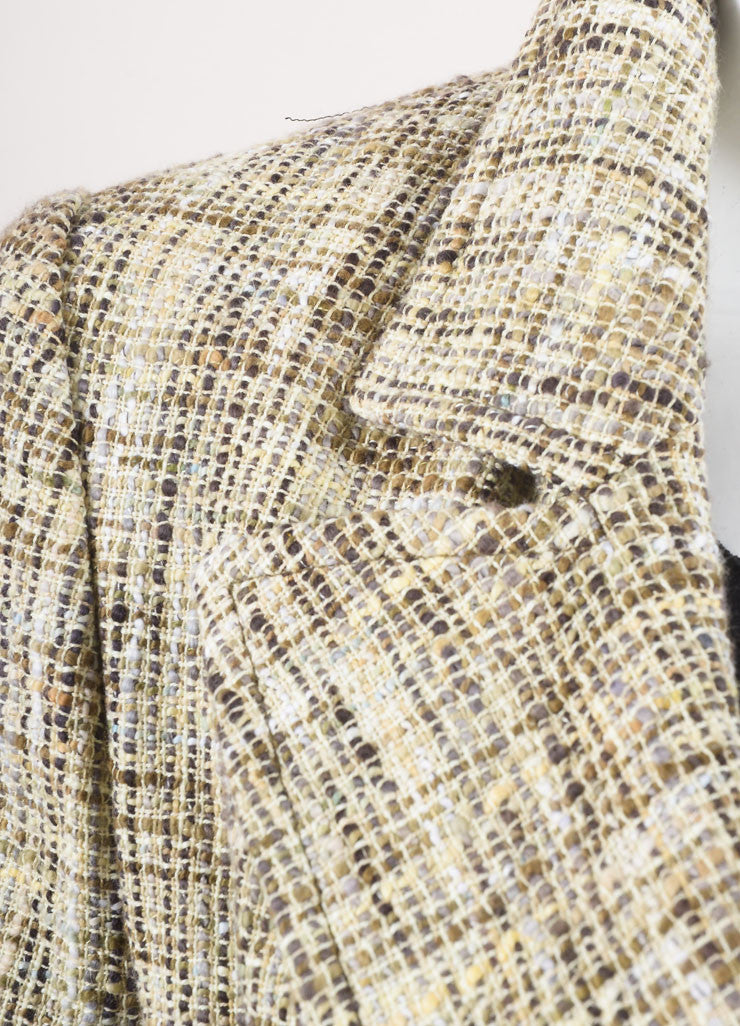 Chanel Cream and Brown Woven Knit Patterned Long Sleeve Jacket Detail