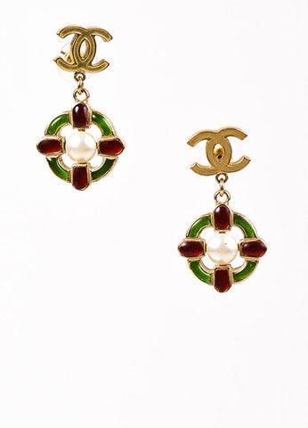 Chanel Gold Toned 'CC' Red and Green Gripoix Faux Pearl Drop Earrings Frontview