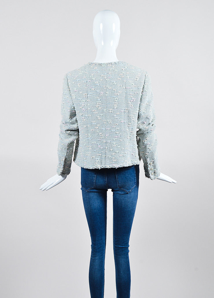 Pastel Blue and Multicolor Chanel Sequin Boucle Open Jacket Backview