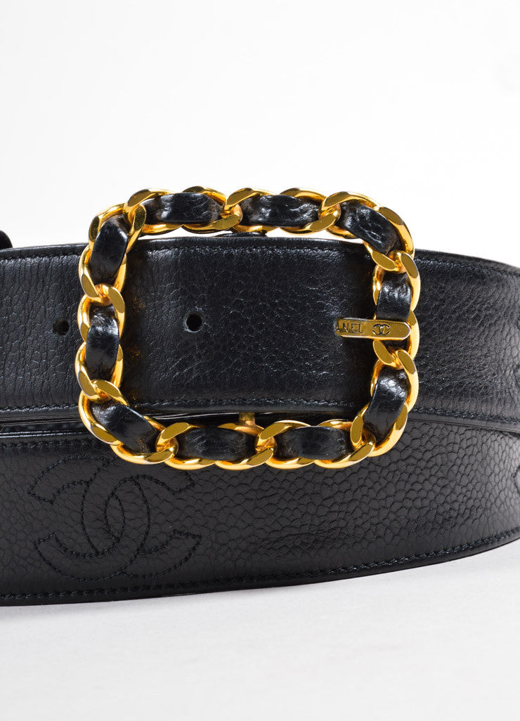 "Chanel Black and Gold Toned Caviar Leather ""CC"" Logo Chain Buckle Belt Detail"