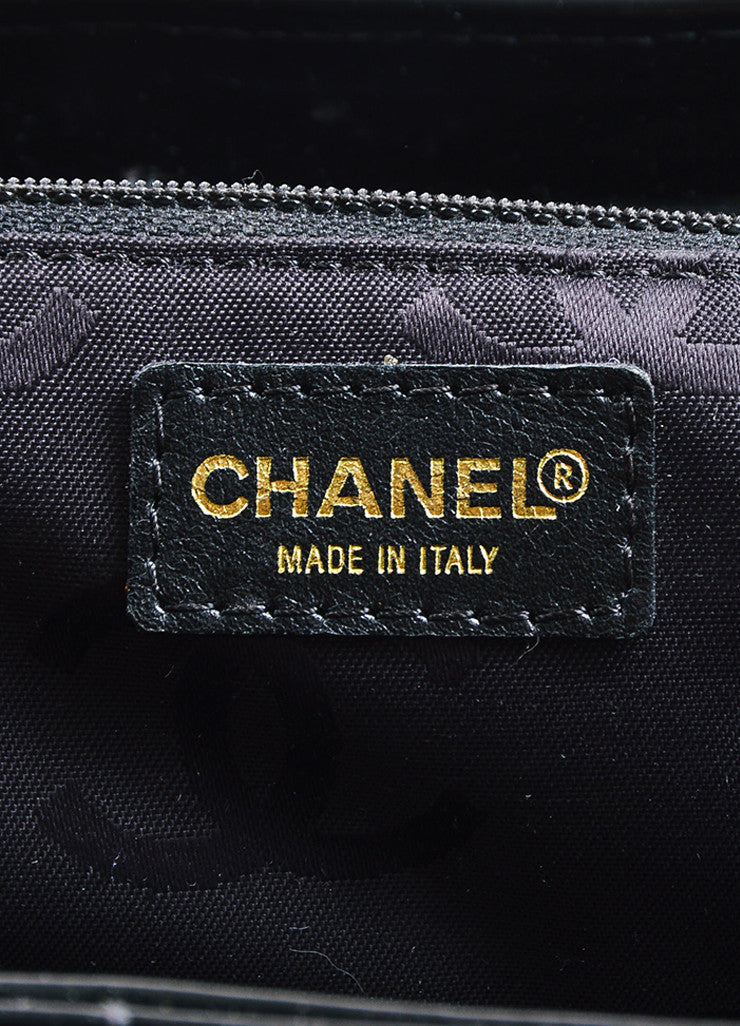 "Chanel Black Patent Leather ""Chocolate Bar"" Quilted Tote Bag Brand"