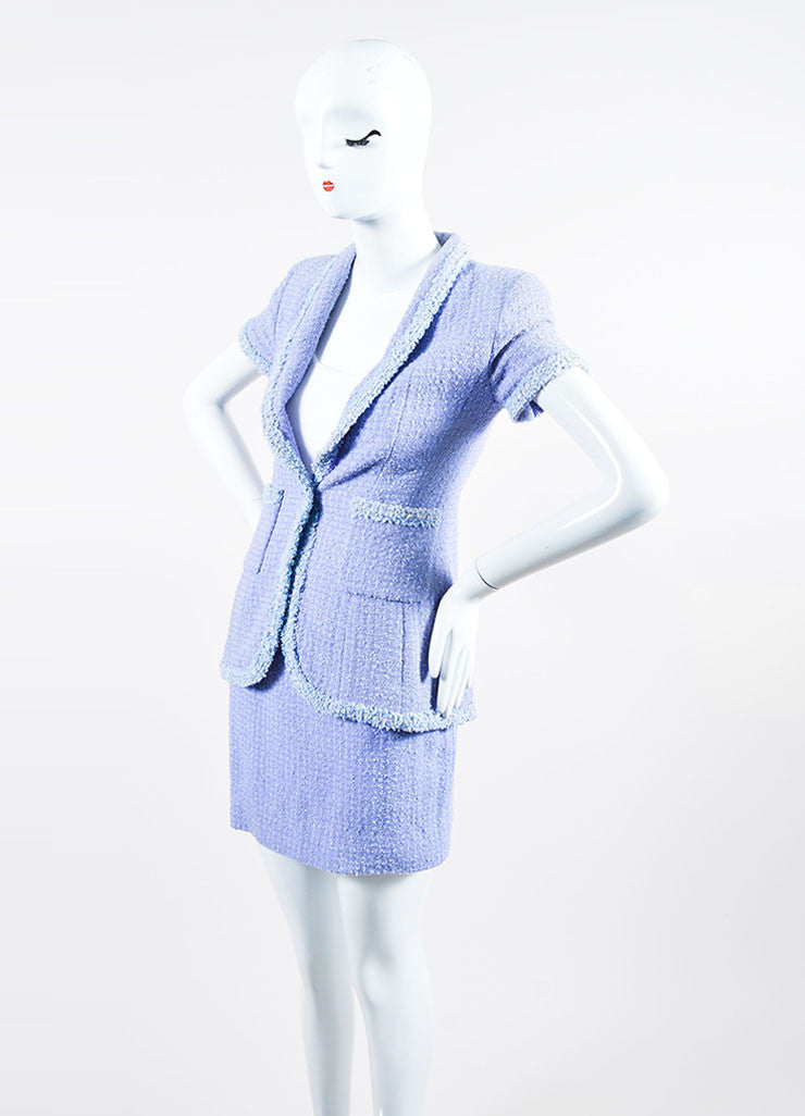 Periwinkle Metallic Chanel Tweed Sequin Trim Short Sleeve Skirt Suit  Sideview
