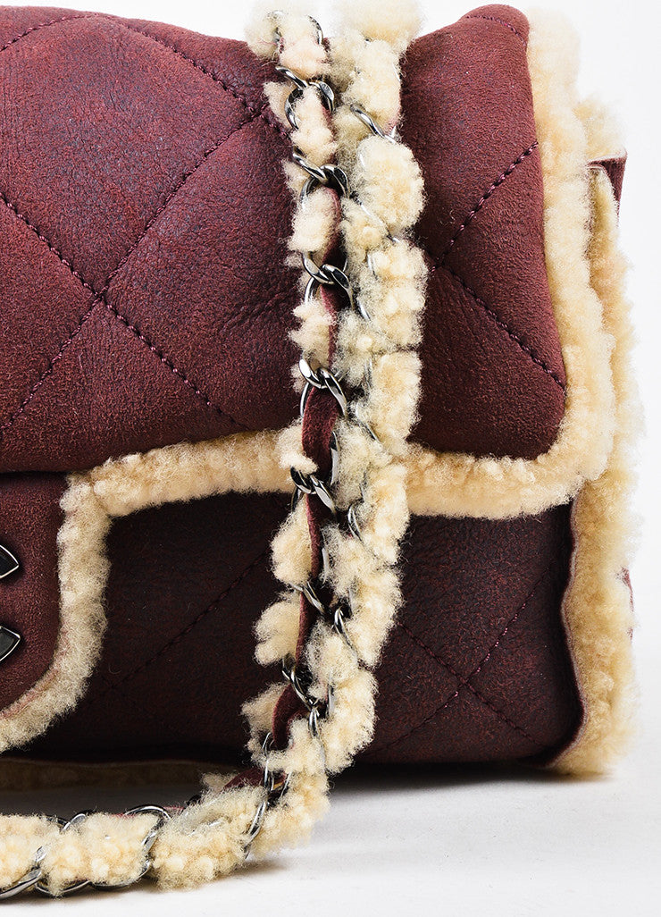 Chanel Burgundy and Beige Quilted Shearling 'CC' Turnlock Chain Strap Shoulder Bag Detail 2
