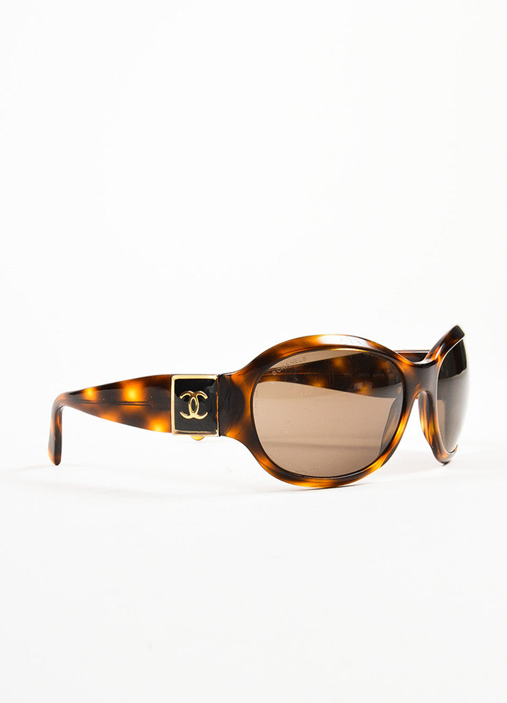 "Chanel Havana Brown Plastic Gold Toned 'CC' Rounded Frame ""5070"" Sunglasses Sideview"