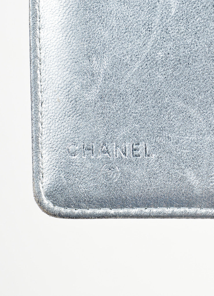 "Chanel Metallic Silver Leather Embossed ""Precious Symbols"" Vertical Coat Wallet Brand"