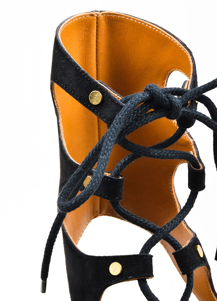 Black Chloe Suede Leather Lace Up Gladiator Wedge Sandals Detail