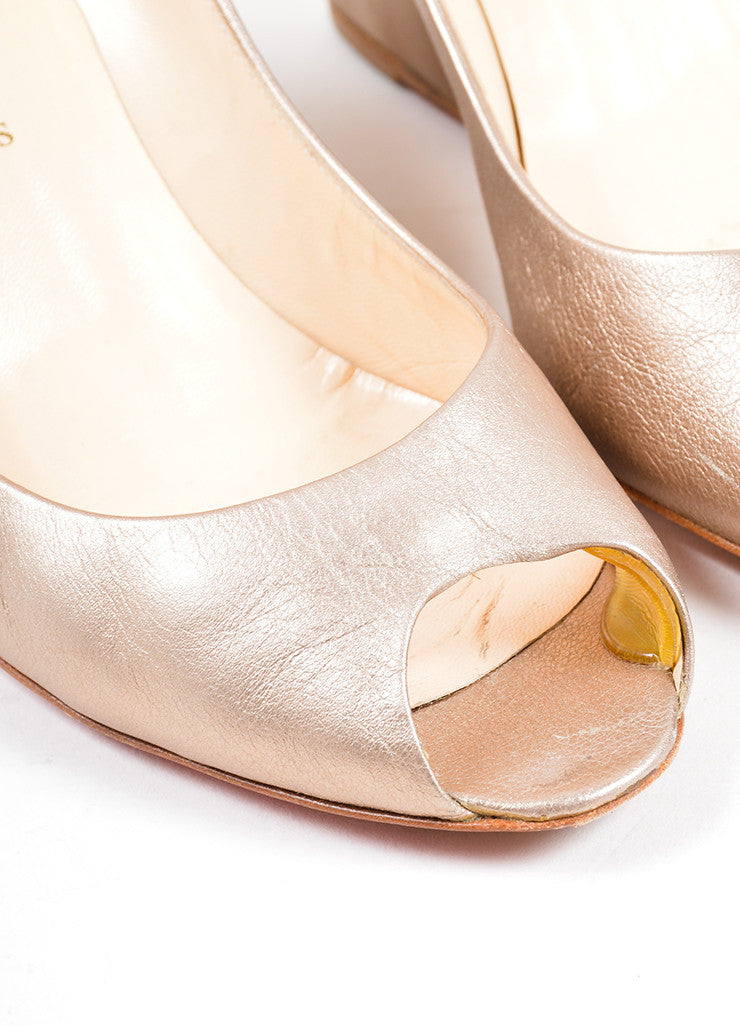 Christian Louboutin Gold Leather Metallic Peep Toe Wedge Detail
