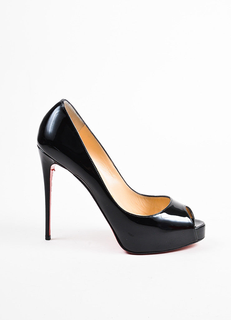 "Christian Louboutin Black Patent Leather ""New Very Prive 120"" Pumps Sideview"