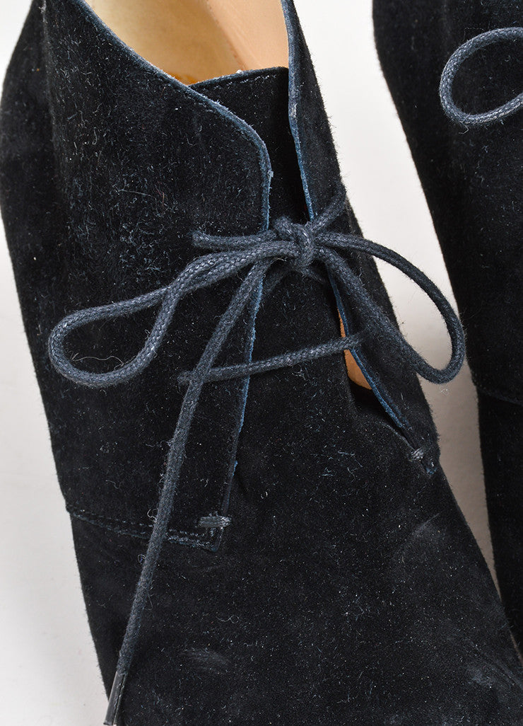 Black Christian Louboutin Suede Leather Lace Up Wedge Ankle Booties Detail