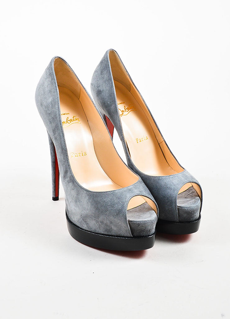 "Grey Christian Louboutin ""Palais Royal Trepointe 140"" Pumps Frontview"