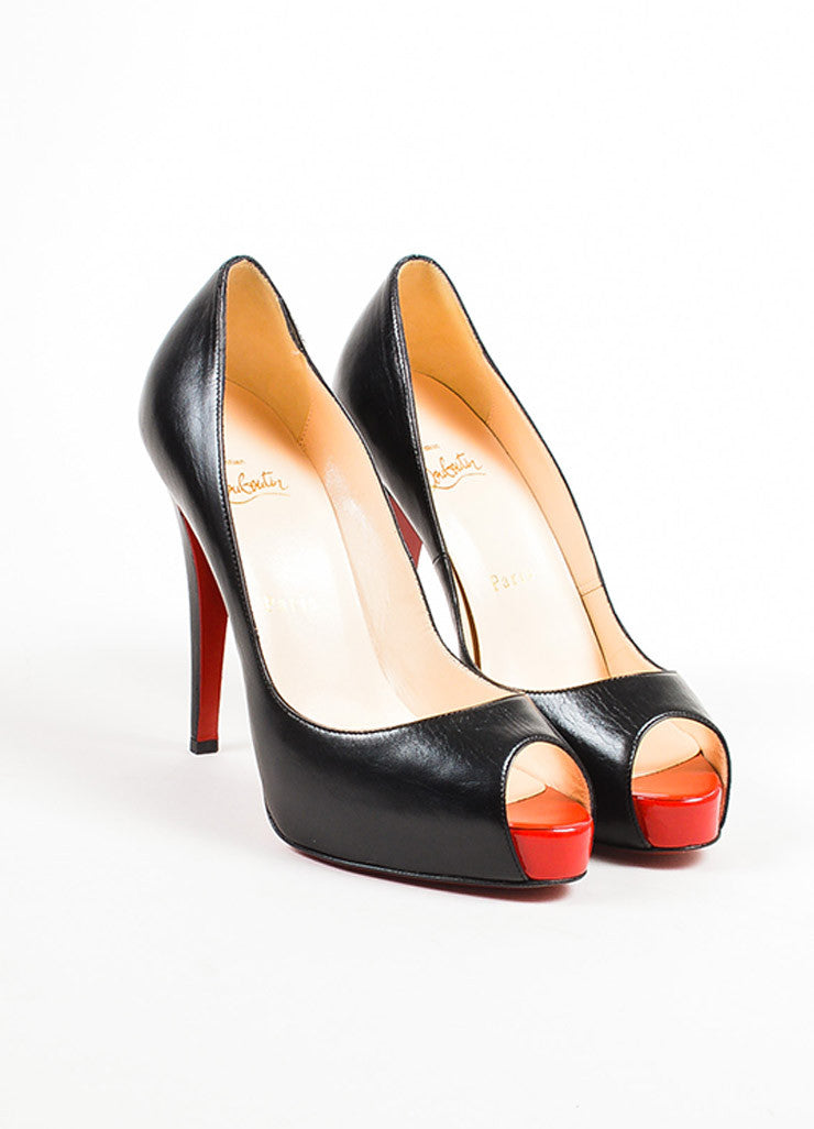 "Christian Louboutin Black and Red Leather Peep Toe ""Very Prive"" Pumps Frontview"