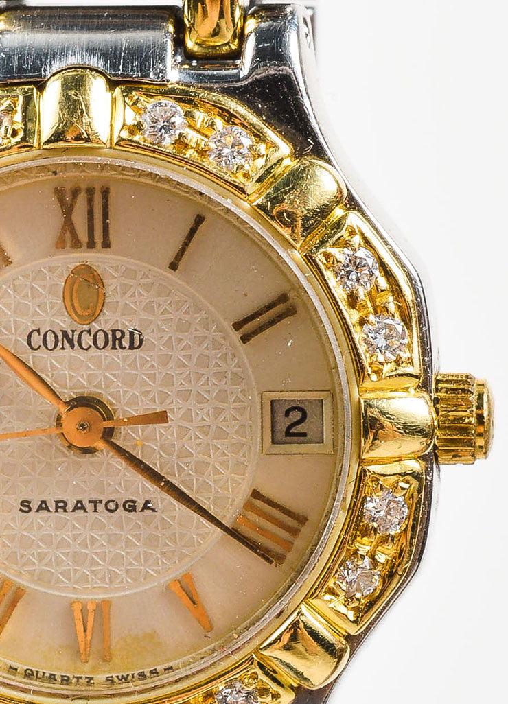 "Concord Stainless Steel, 18K Yellow Gold, and Diamond ""Saratoga"" Bracelet Watch Detail"